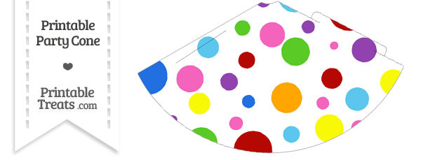 Rainbow Dots Party Cone