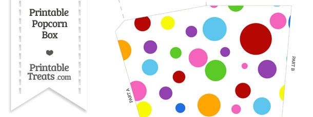 Rainbow Dots Popcorn Box