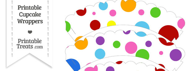 Rainbow Dots Scalloped Cupcake Wrappers