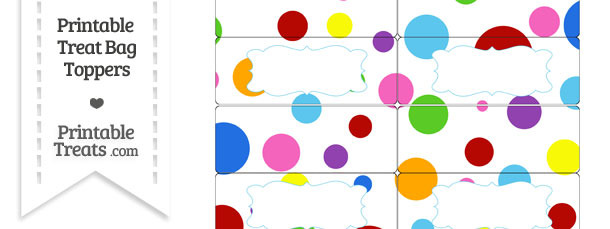 Rainbow Dots Treat Bag Toppers