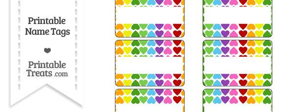 Rainbow Hearts Name Tags