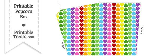 Rainbow Hearts Popcorn Box
