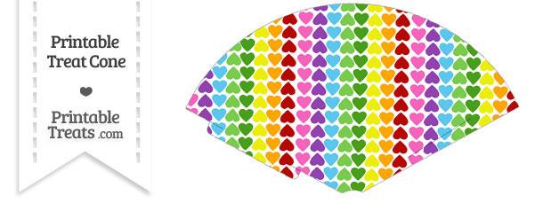 Rainbow Hearts Treat Cone