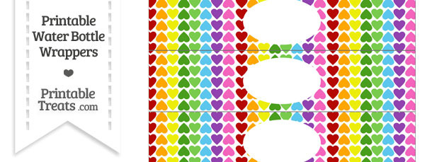 Rainbow Hearts Water Bottle Wrappers
