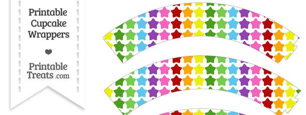 Rainbow Stars Cupcake Wrappers