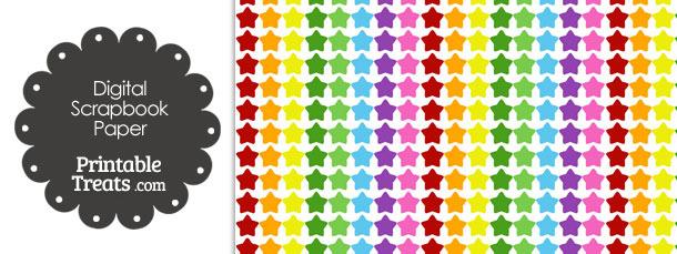 Rainbow Stars Digital Scrapbook Paper