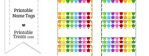 Rainbow Stars Name Tags