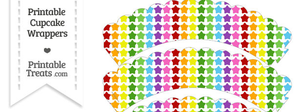 Rainbow Stars Scalloped Cupcake Wrappers