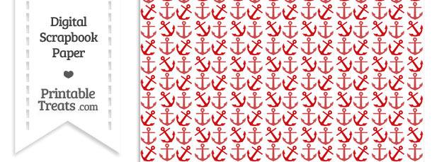 Red Anchors Digital Scrapbook Paper