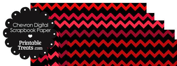 Red and Black Chevron Digital Scrapbook Paper