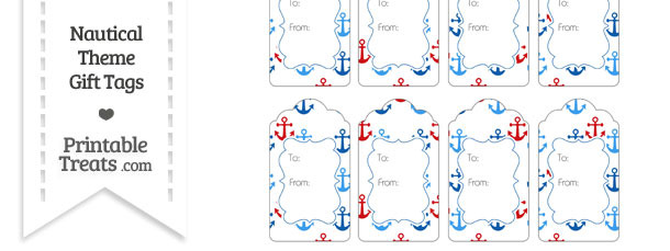 Red and Blue Anchors Gift Tags