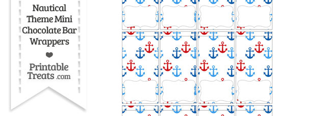 Red and Blue Anchors Mini Chocolate Bar Wrappers