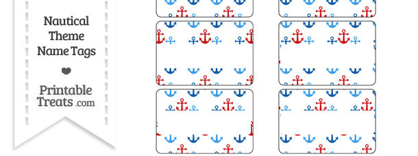 Red and Blue Anchors Name Tags