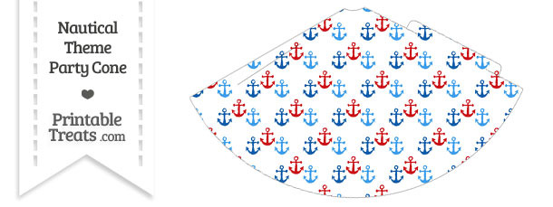 Red and Blue Anchors Party Cone