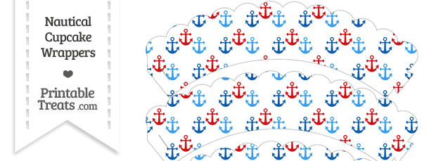 Red and Blue Anchors Scalloped Cupcake Wrappers
