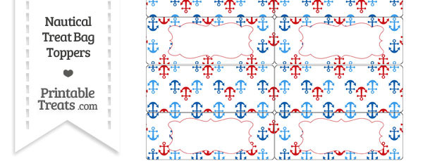 Red and Blue Anchors Treat Bag Toppers