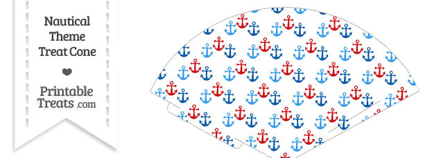 Red and Blue Anchors Treat Cone