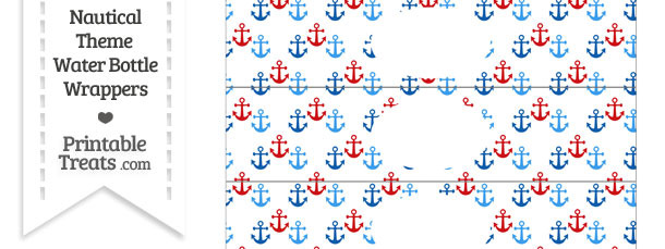 Red and Blue Anchors Water Bottle Wrappers