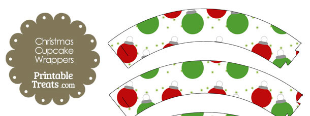 Red and Green Christmas Ornaments Cupcake Wrappers