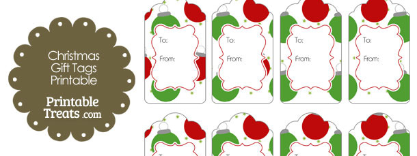 Red and Green Christmas Ornaments Gift Tags