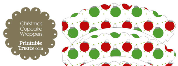 Red and Green Christmas Ornaments Scalloepd Cupcake Wrappers