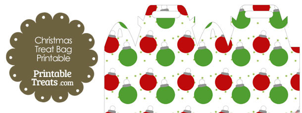 Red and Green Christmas Ornaments Treat Bag