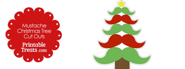Red and Green Mustache Christmas Tree Cut Outs