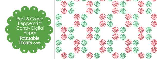 Red and Green Peppermint Candy Digital Scrapbook Paper