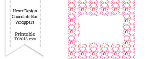 Red and Pink Heart Design Chocolate Bar Wrappers