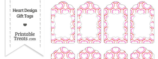 Red and Pink Heart Design Gift Tags