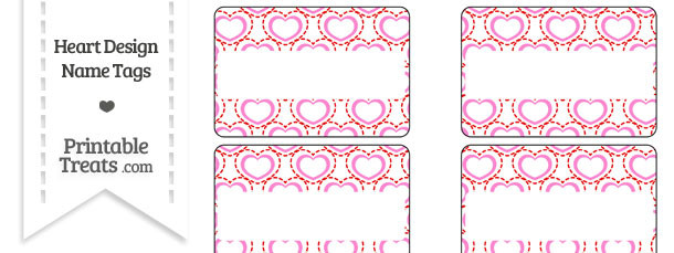 Red and Pink Heart Design Name Tags