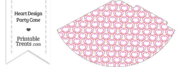 Red and Pink Heart Design Party Cone