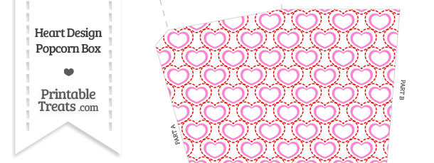 Red and Pink Heart Design Popcorn Box