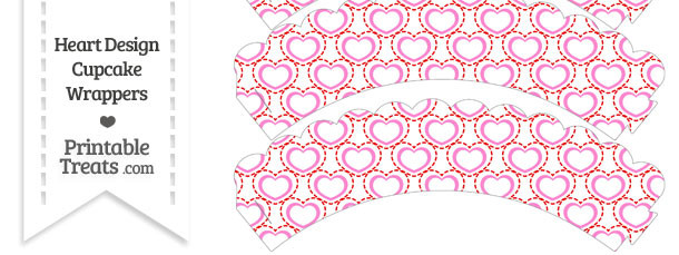Red and Pink Heart Design Scalloped Cupcake Wrappers
