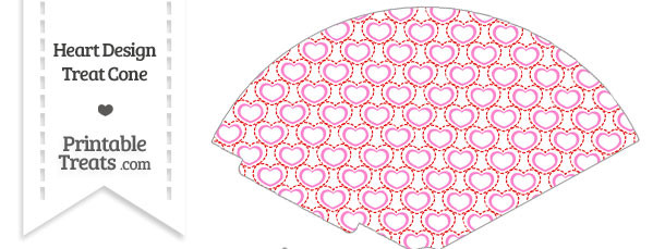 Red and Pink Heart Design Treat Cone