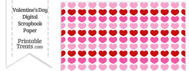 Red and Pink Hearts Digital Scrapbook Paper