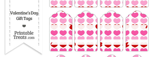 Red and Pink Hearts Gift Tags