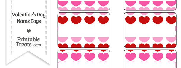 Red and Pink Hearts Name Tags