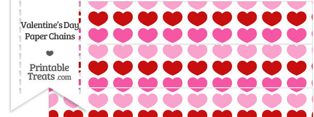 Red and Pink Hearts Paper Chains