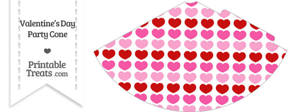 Red and Pink Hearts Party Cone