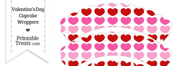 Red and Pink Hearts Scalloped Cupcake Wrappers