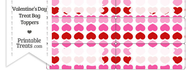 Red and Pink Hearts Treat Bag Toppers