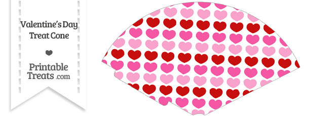Red and Pink Hearts Treat Cone