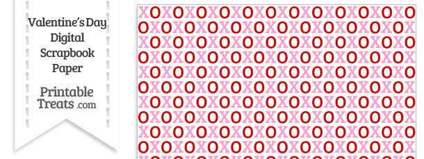 Red and Pink Hugs and Kisses Digital Scrapbook Paper