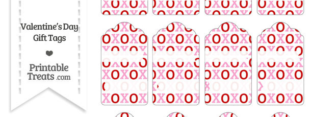 Red and Pink Hugs and Kisses Gift Tags