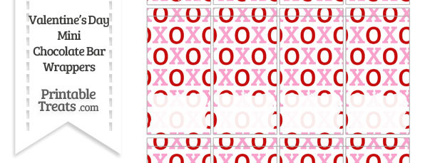 Red and Pink Hugs and Kisses Mini Chocolate Bar Wrappers