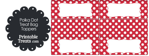 Red and White Polka Dot Treat Bag Toppers