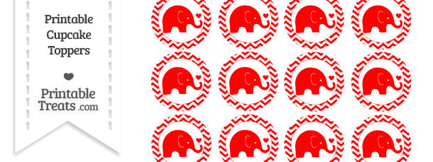 Red Baby Elephant Chevron Cupcake Toppers