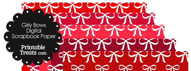 Red Background Girly Bow Digital Scrapbook Paper