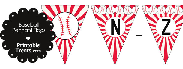 Red Baseball Party Flag Letters N-Z
